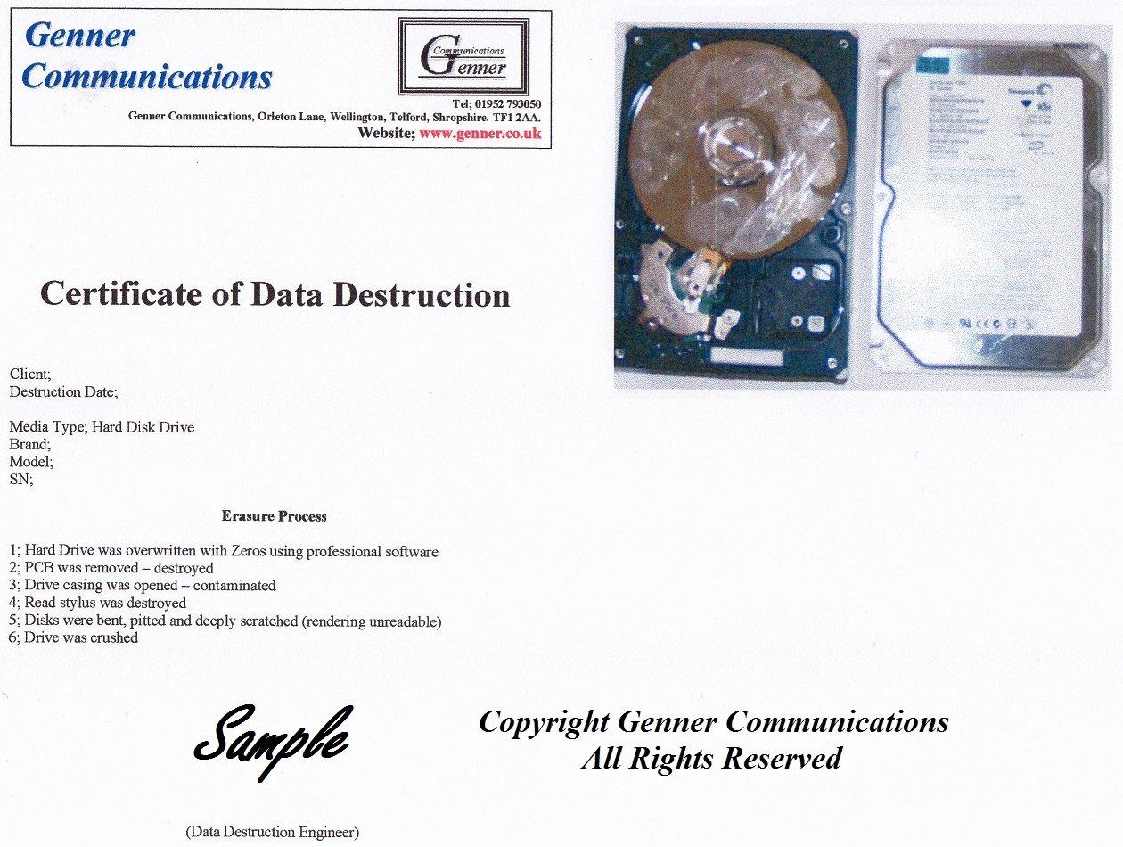 Hard Drive Destruction Certificate Template Luxury Data Destruction Certificate Sample to Pin On