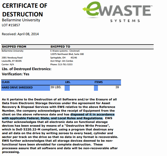 Hard Drive Destruction Certificate Template New Certificate Destruction Template Word Example as An