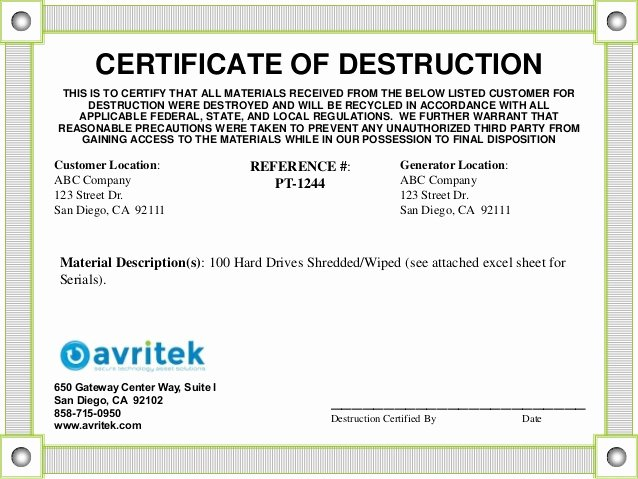 Hard Drive Destruction Certificate Template New Data Sanitization and Disposal Best Practices