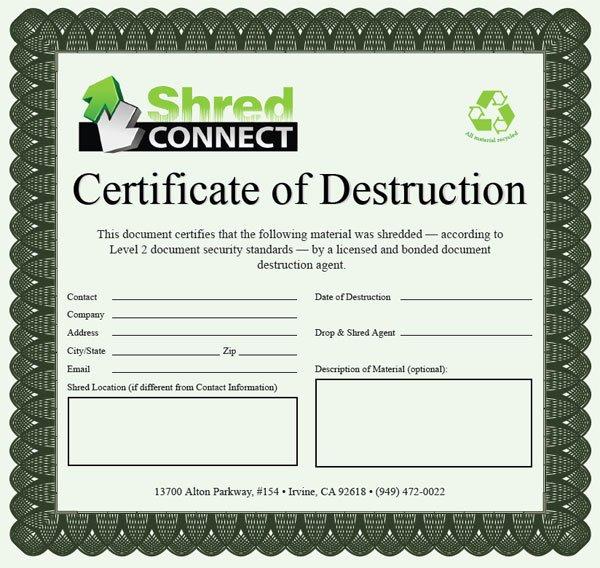 Hard Drive Destruction Certificate Template New Hard Drive Certificate Destruction Template Reeviewer