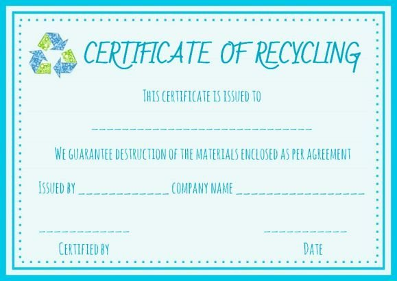 Hard Drive Destruction Certificate Template New Recycling Certificate Template Certificate Of Destruction