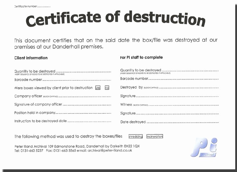 Hard Drive Destruction Certificate Template Unique the Gallery for Blank to Do List Printable