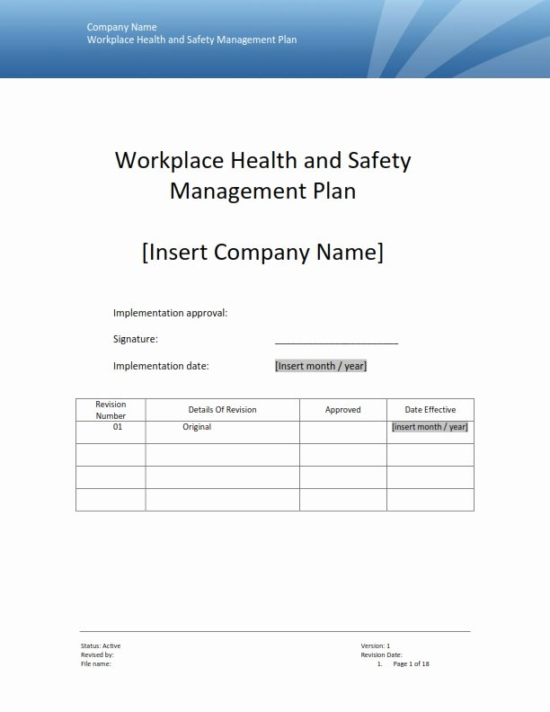 Health and Safety Plan Template Awesome Safety Management Plan Templates