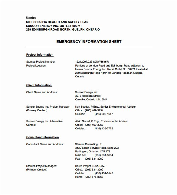 Health and Safety Plan Template Best Of 13 Health and Safety Plan Templates Free Sample