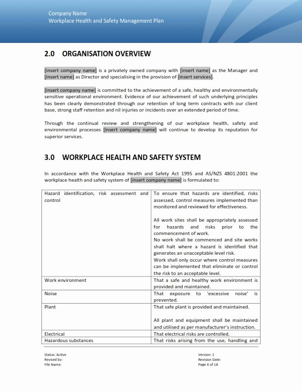 Health and Safety Plan Template Best Of Safety Management Plan Templates