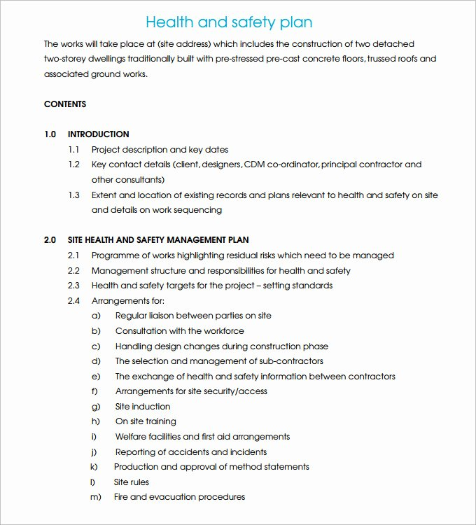 Health and Safety Plan Template Fresh Construction Safety Plan Template 17 Free Word Pdf
