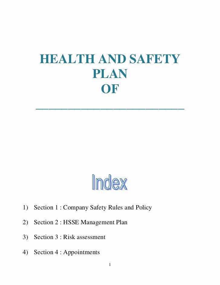 Health and Safety Plan Template Fresh Health and Safety Plan Generic