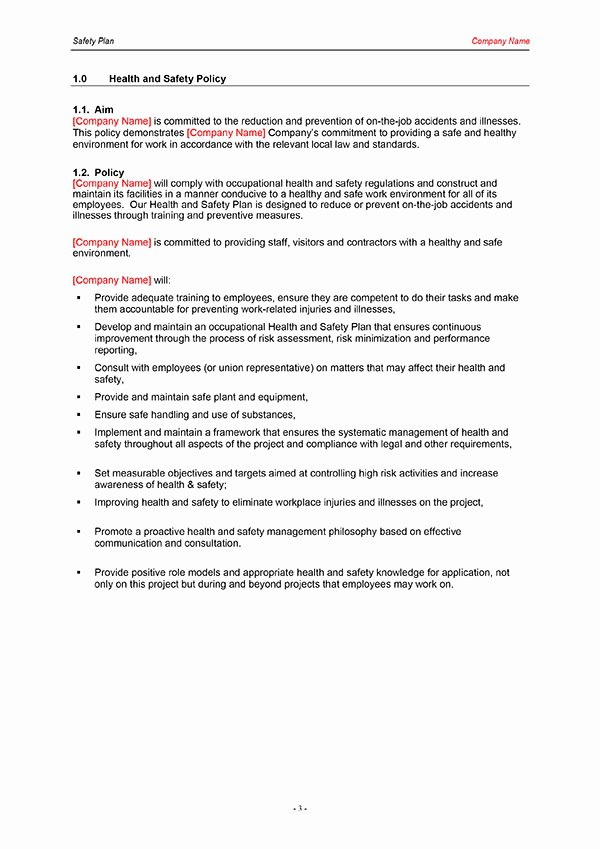 Health and Safety Plan Template Inspirational 26 Of Construction Safety Plan Template for Word