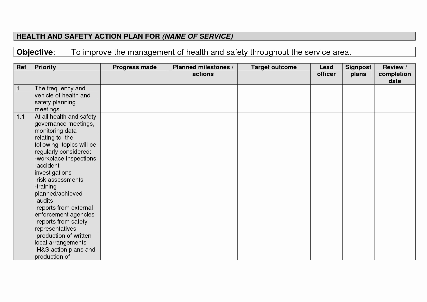 Health and Safety Plan Template Inspirational 29 Of Safety Action Plan Template