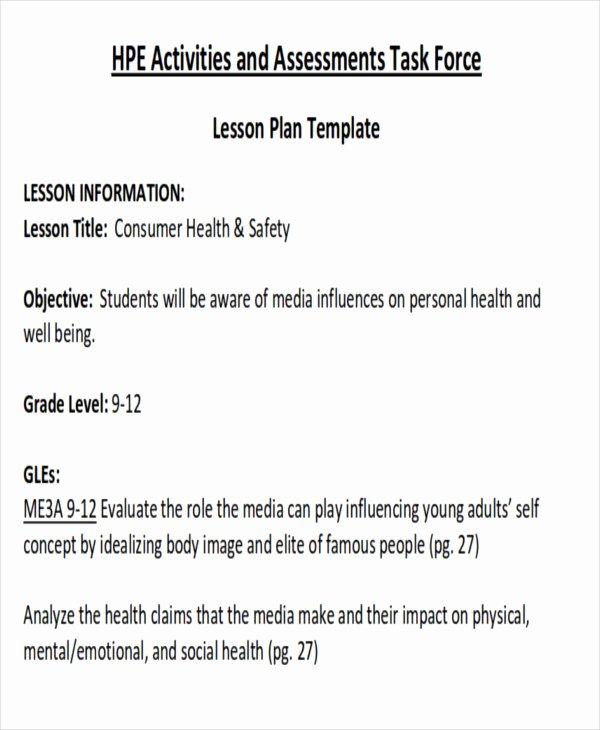 Health and Safety Plan Template New 7 Sample Health Lesson Plans