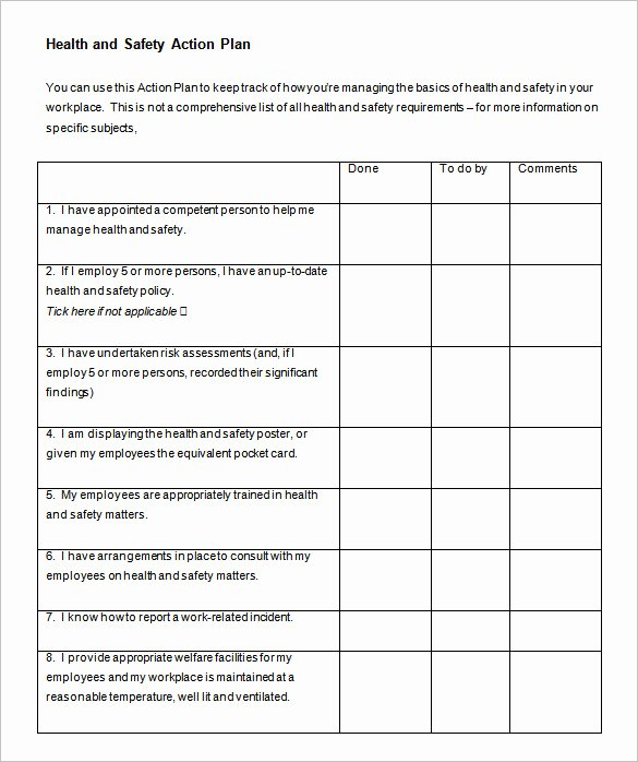 Health and Safety Plan Template New 85 Action Plan Templates Word Excel Pdf