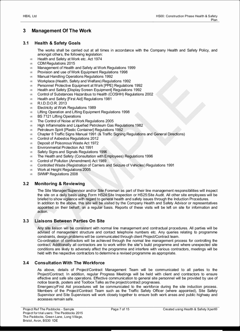 Health and Safety Plan Template Unique Professional Results Hbxl Professional Services