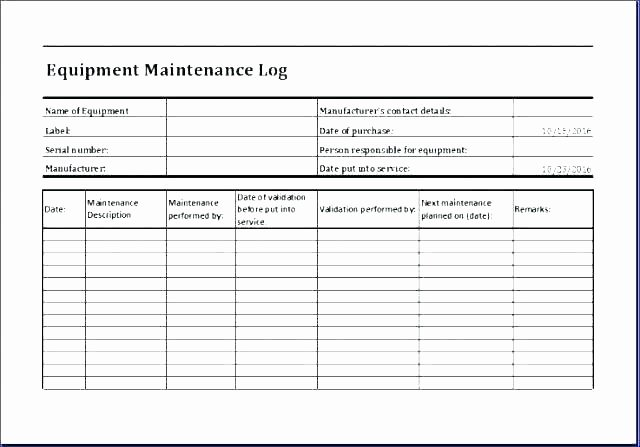 Heavy Equipment Maintenance Log Template Best Of Equipment Maintenance Log Maintenance Log Template Free