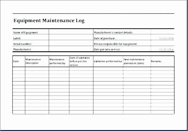 Heavy Equipment Maintenance Log Template Best Of Equipment Maintenance Log Maintenance Log Template Free
