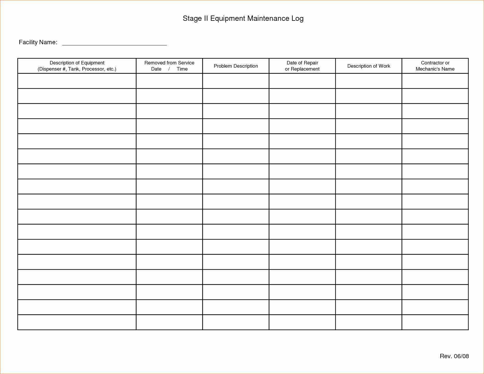 Heavy Equipment Maintenance Log Template Best Of Equipment Maintenance Schedule Template