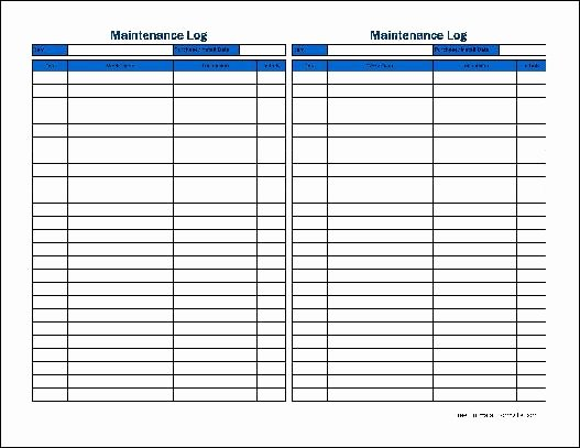 Heavy Equipment Maintenance Log Template Best Of Free Small Basic Maintenance Log Tall From formville