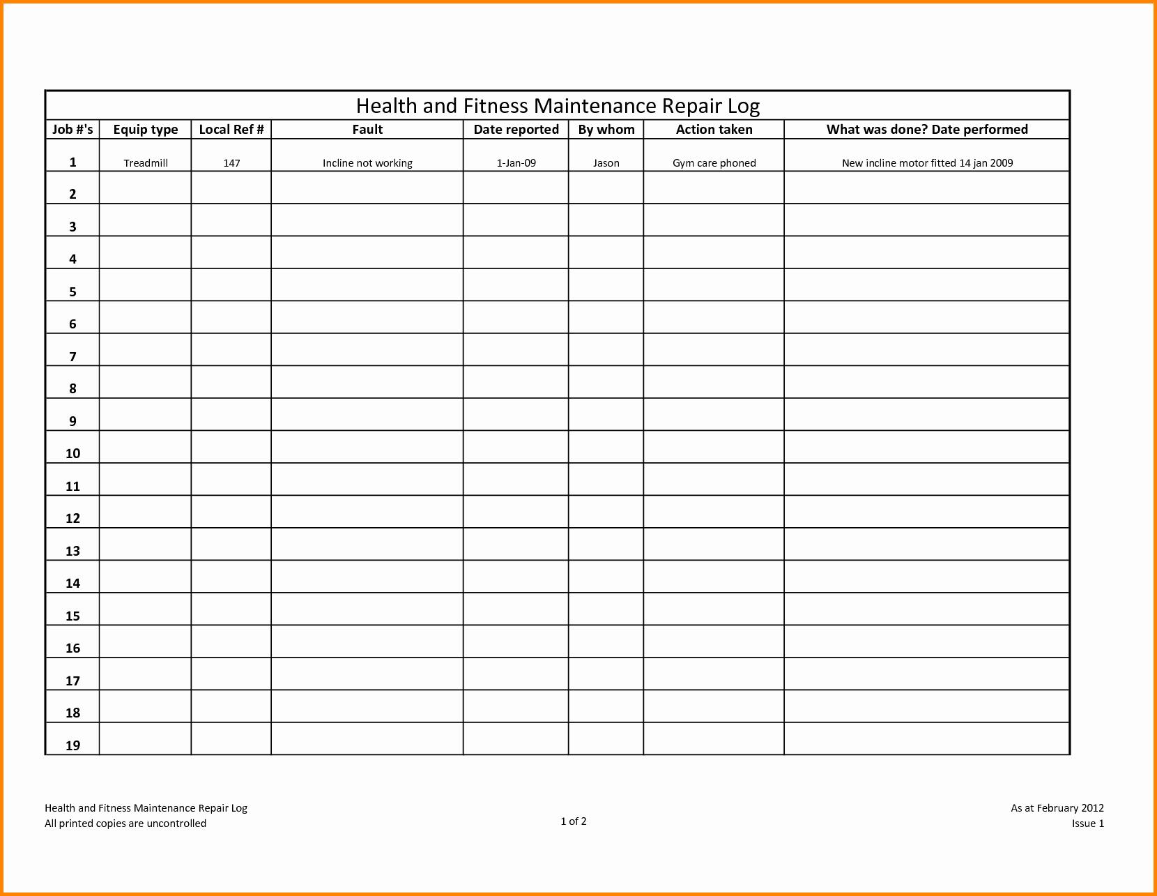 Heavy Equipment Maintenance Log Template Elegant Equipment Maintenance Log Template Filename