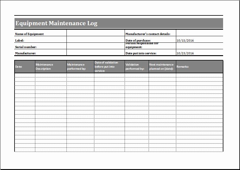 Heavy Equipment Maintenance Log Template Elegant Equipment Maintenance Schedule Template Excel