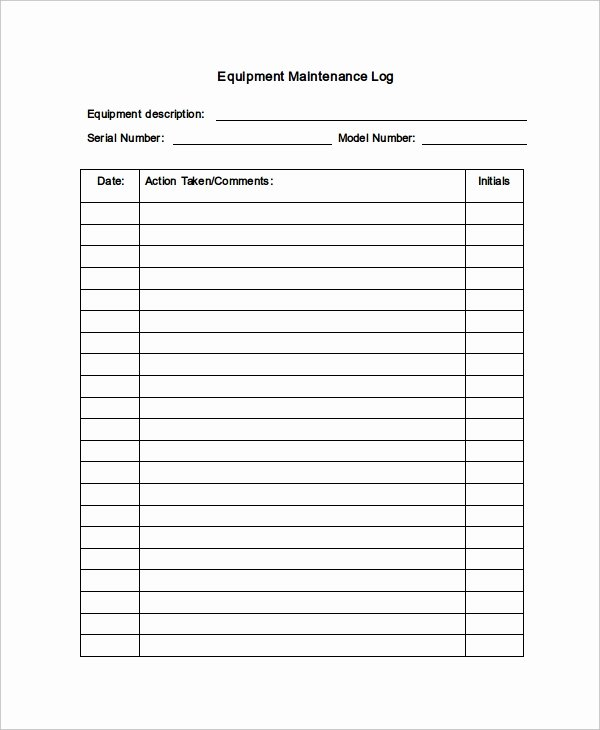 Heavy Equipment Maintenance Log Template Elegant Maintenance Log Template 11 Free Word Excel Pdf