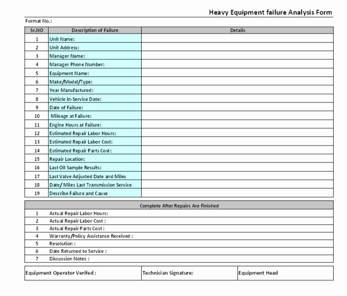 Heavy Equipment Maintenance Log Template Inspirational Electrical Maintenance Checklist form Templates Resume
