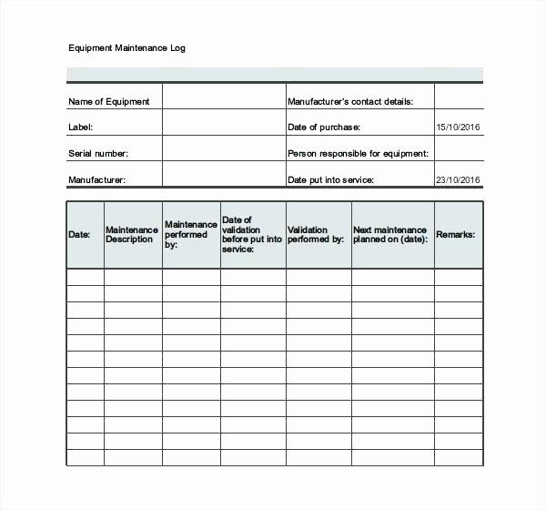 Heavy Equipment Maintenance Log Template Luxury Equipment Maintenance Plan Template T Schedule Machine