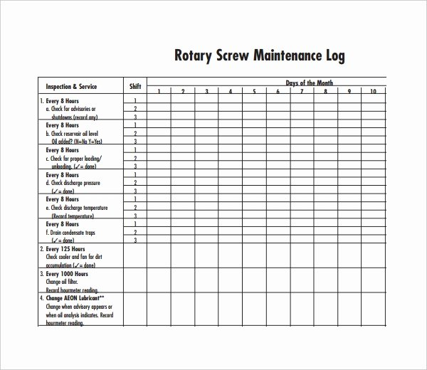 Heavy Equipment Maintenance Log Template Luxury Maintenance Log Template 11 Free Word Excel Pdf