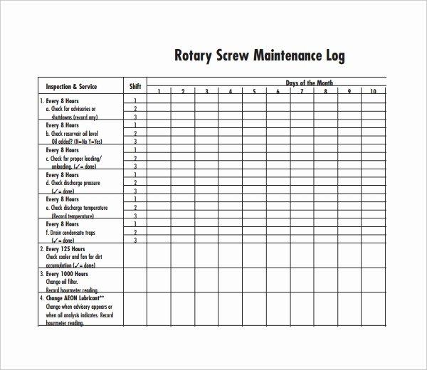 Heavy Equipment Maintenance Log Template Luxury Maintenance Log Template 11 Free Word Excel Pdf
