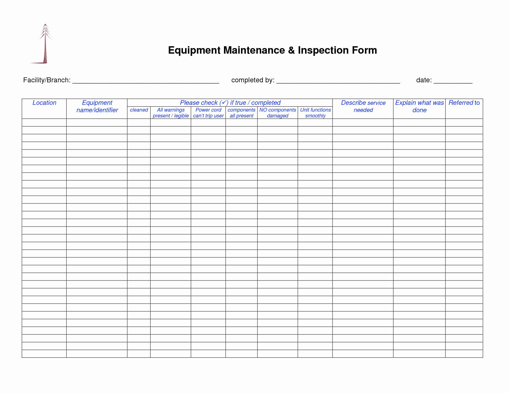 Heavy Equipment Maintenance Log Template New Equipment Maintenance Log Template Filename