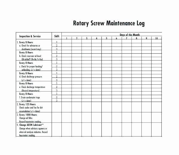 equipment repair log template