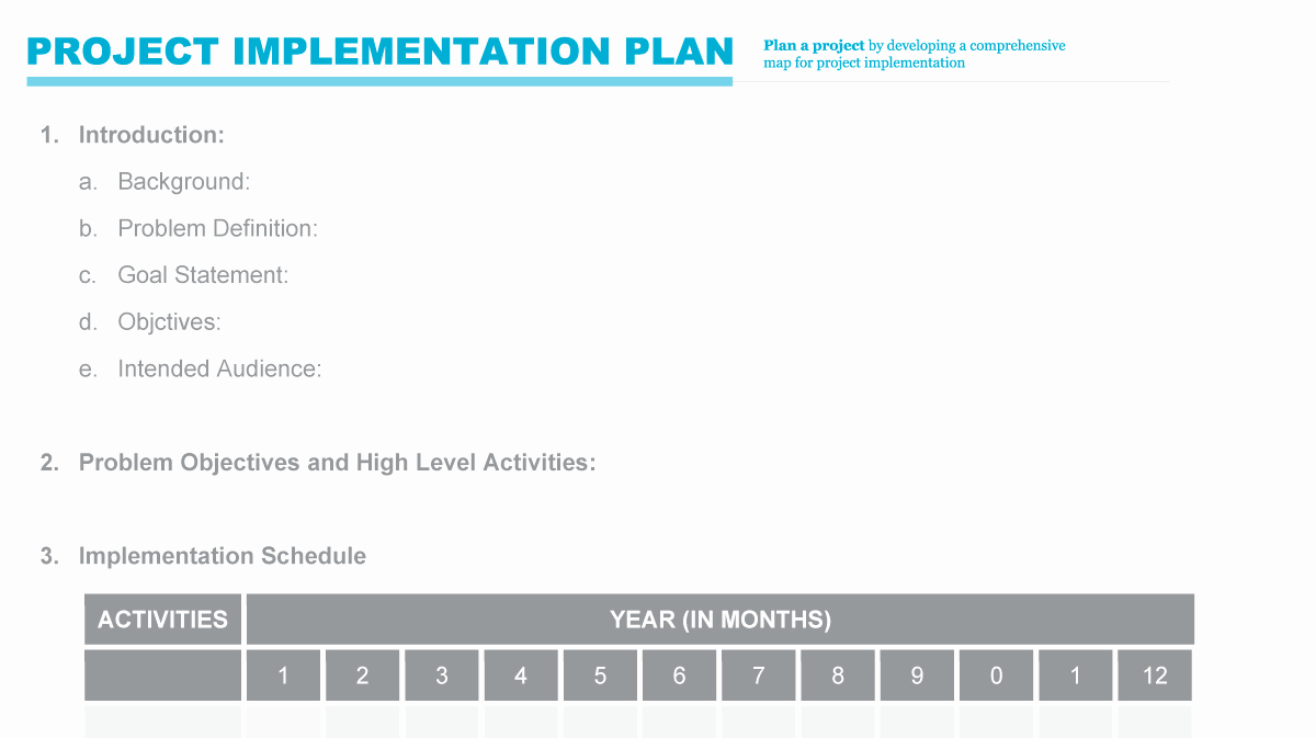 High Level Project Plan Template Awesome Implementation Plan