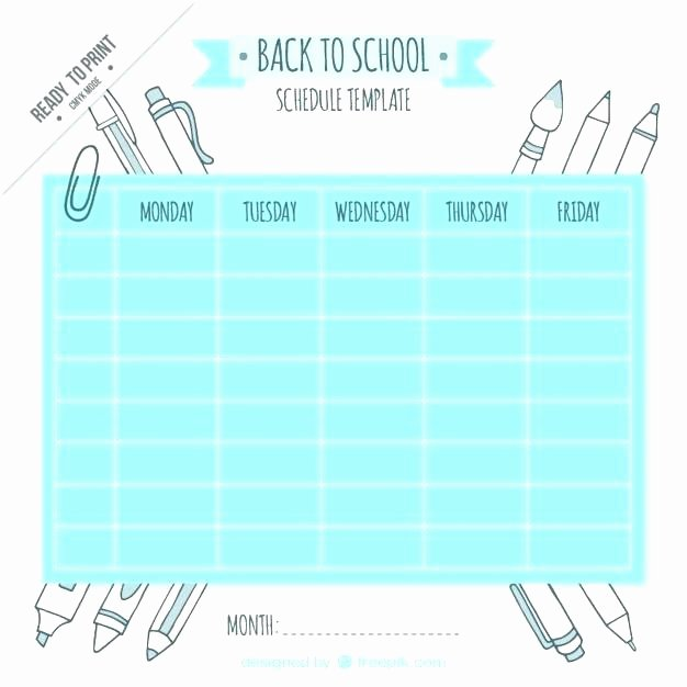 High School Schedule Template Best Of after School Timetable Template Free Printable Schedule