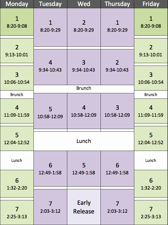 High School Schedule Template Elegant Block Schedule Piedmont Middle School