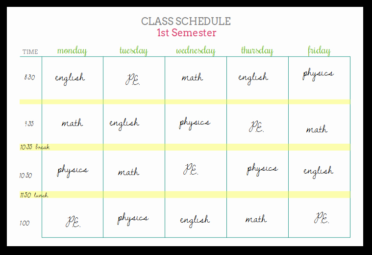High School Schedule Template Inspirational Student Planners Class Schedules and Reference Sheets