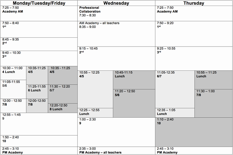 High School Schedule Template Inspirational Typical American High School Timetable Brennaslabaugh
