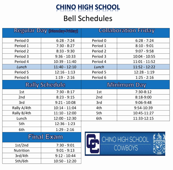 High School Schedule Template New High School Bell Schedule Template Dimmitt isd Bell