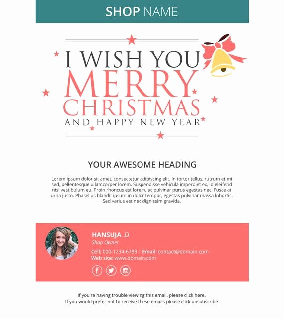 Holiday E Mail Template Awesome Christmas Email Template Responsive HTML Email Mailchimp