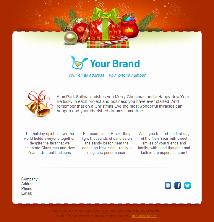 Holiday E Mail Template Best Of Christmas Email Templates for Free 2014 From atompark
