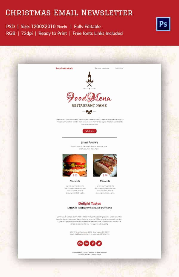 Holiday E Mail Template Lovely 38 Christmas Email Newsletter Templates Free Psd Eps