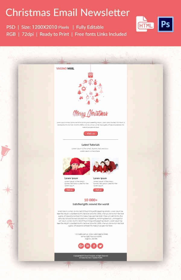 Holiday E Mail Template Luxury 38 Christmas Email Newsletter Templates Free Psd Eps