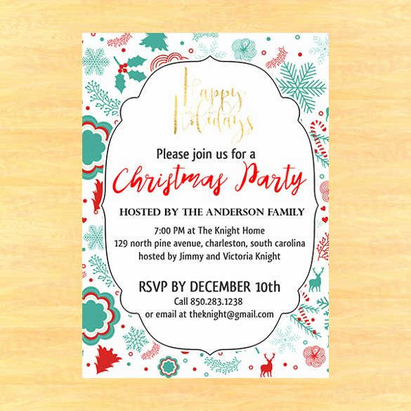 Holiday Party Invite Template Awesome 20 Christmas Invitation Templates Free Sample Example