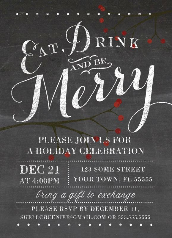 Holiday Party Invite Template Best Of Christmas Invitation Template Winter Chalkboard Holiday