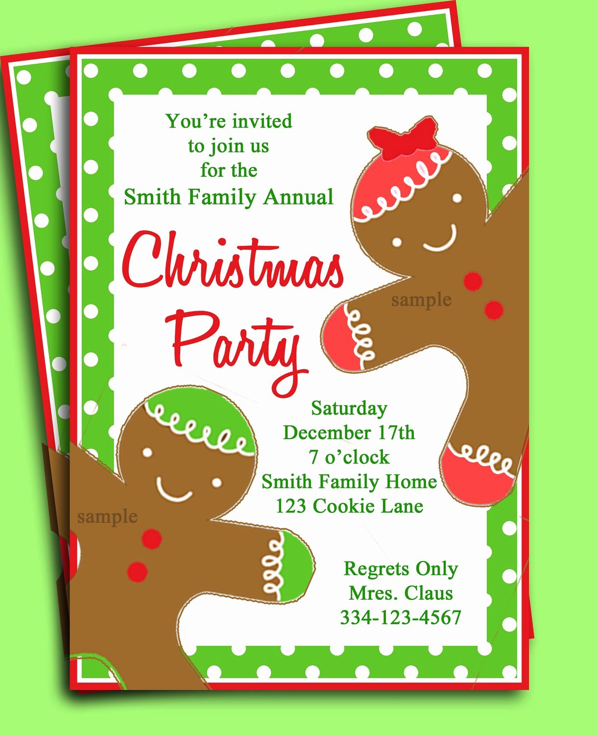 Holiday Party Invite Template Fresh Christmas Party Invitation Printable Gingerbread Kid