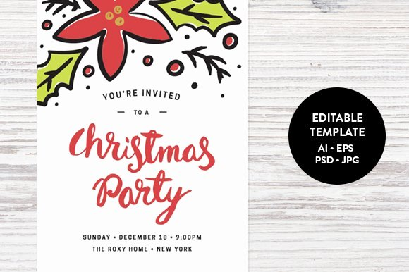 Holiday Party Invite Template Unique Christmas Party Invitation Template Invitation Templates