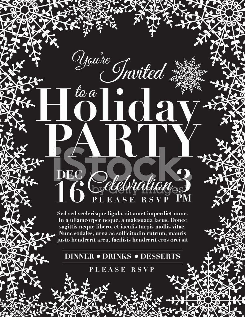 Holiday Party Invite Template Unique Snowflake Holiday Party Invitation Template Blue Stock