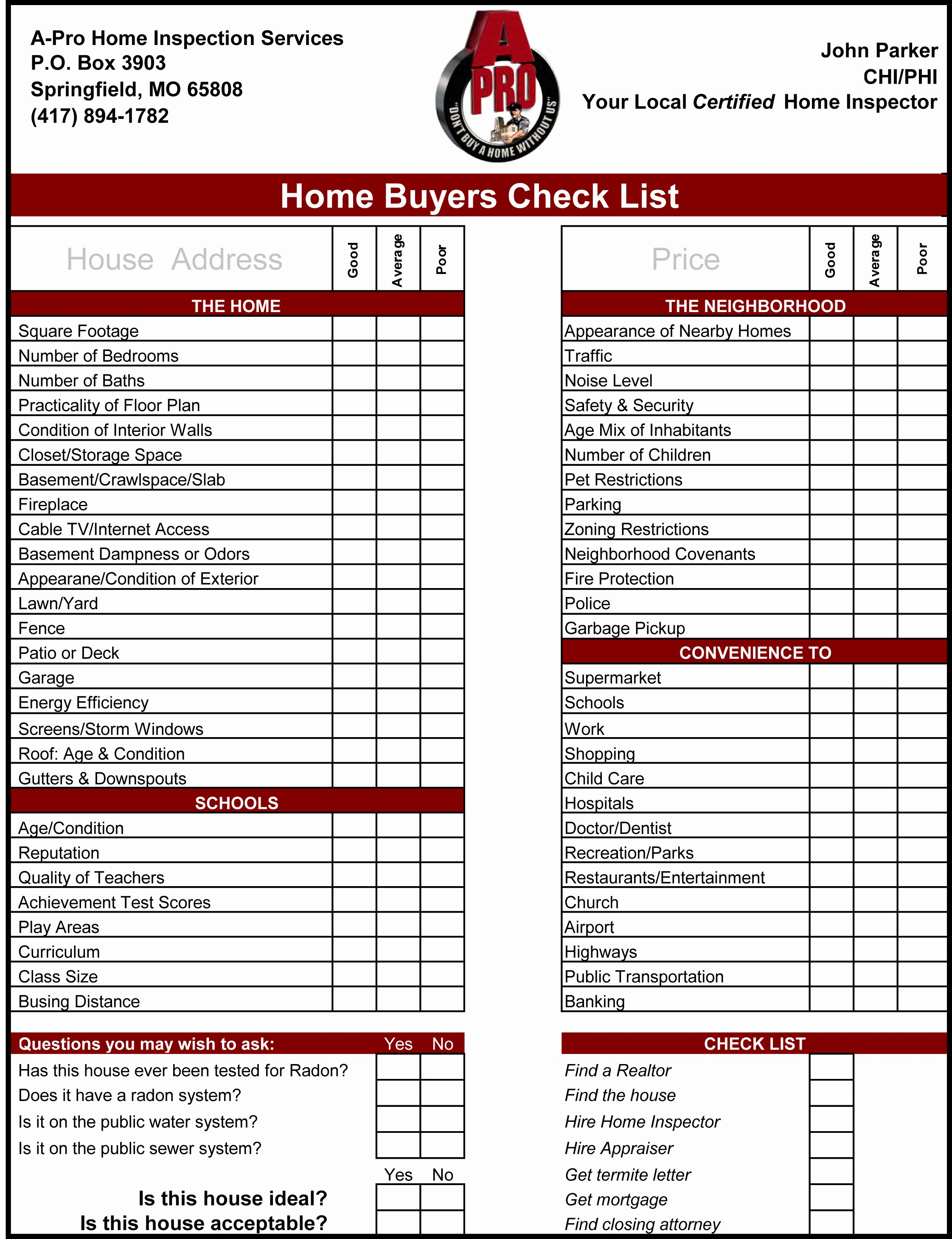Home Buyer Checklist Template Beautiful Home Inspection Checklist