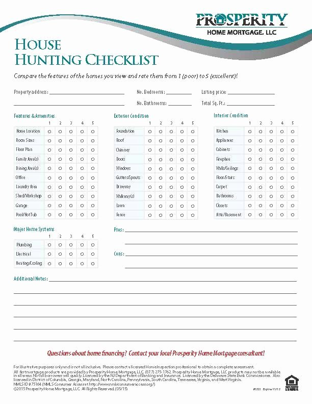 Home Buyer Checklist Template Beautiful House Hunting Checklist Prosperity Home Mortgage Llc