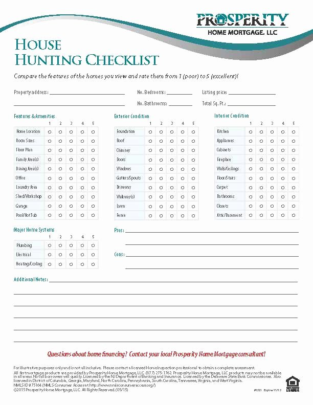 Home Buyer Checklist Template Elegant House Hunting Checklist Prosperity Home Mortgage Llc