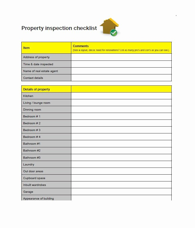 Home Buyer Checklist Template Inspirational 20 Printable Home Inspection Checklists Word Pdf
