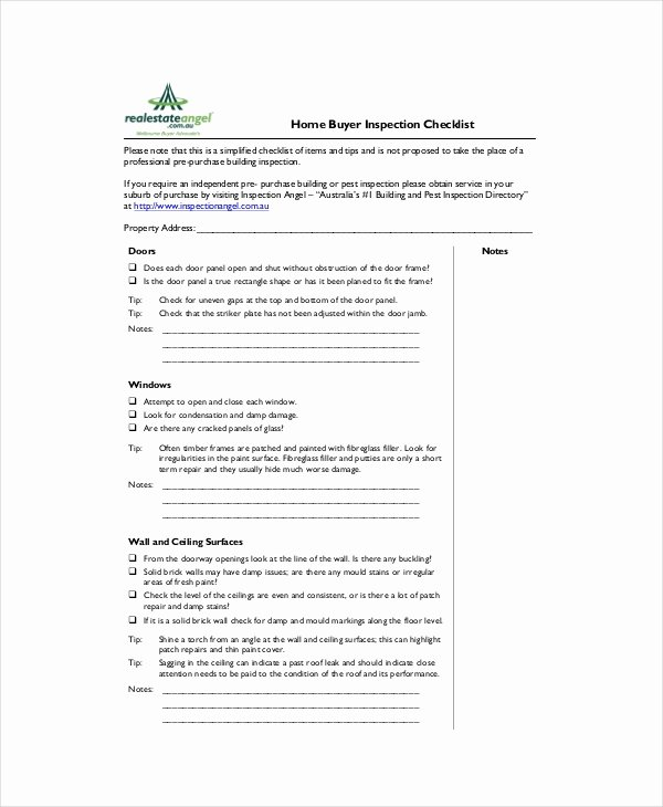 Home Buyer Checklist Template New House Inspection Checklist 14 Pdf Word Download