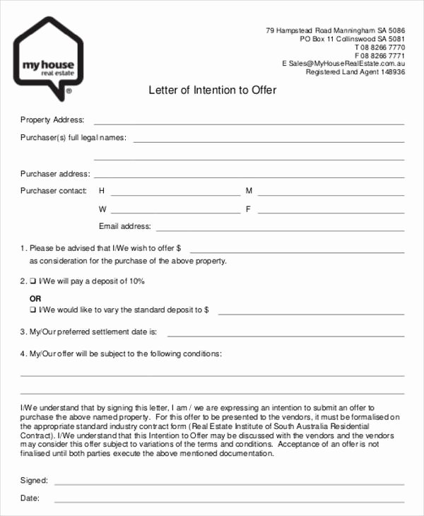 Home Buying Offer Letter Template Unique 8 Real Estate Fer Letter Template 9 Free Word Pdf